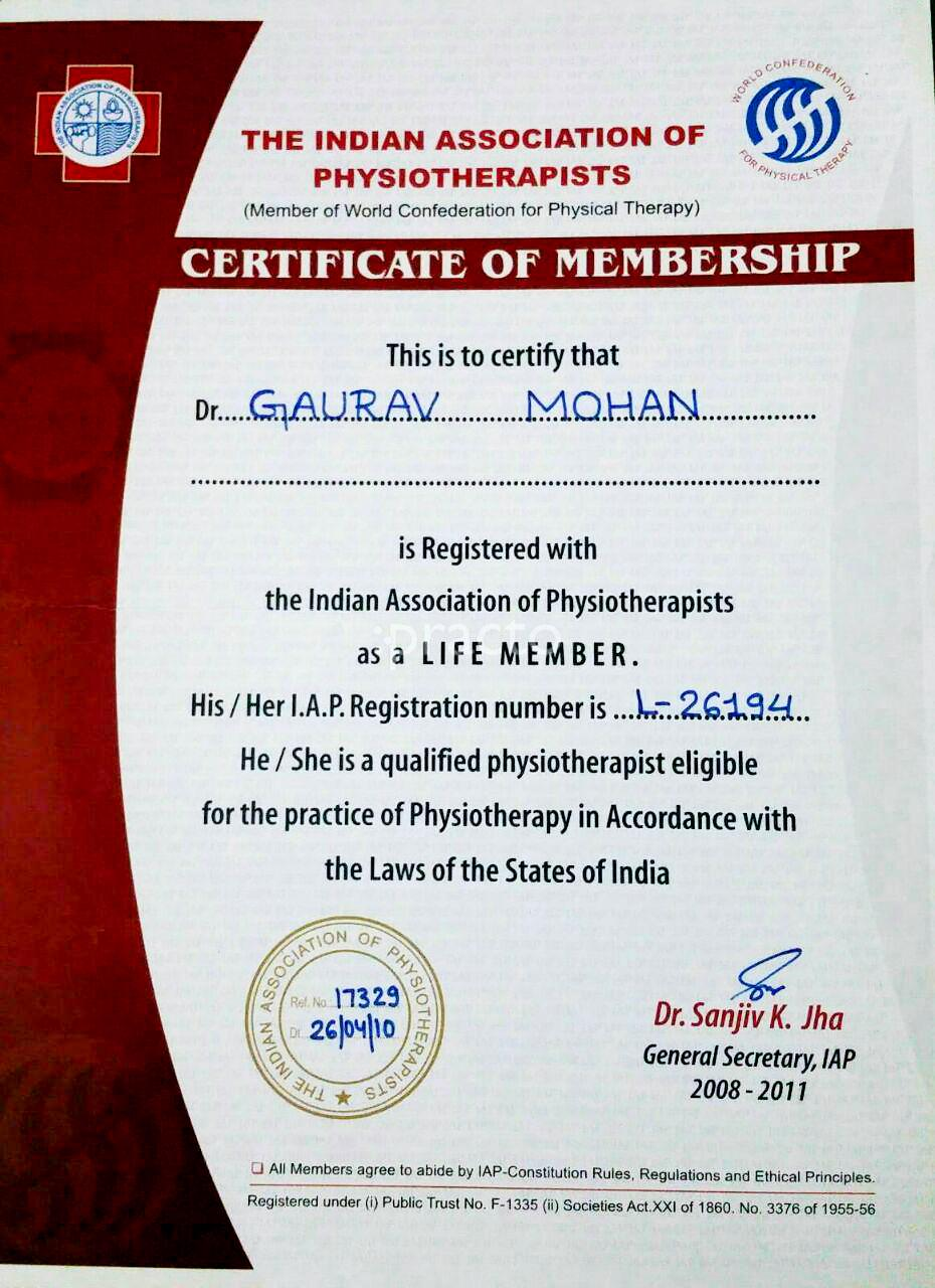 Dr  Gaurav Mohan (PT) - Physiotherapist - Book Appointment Online