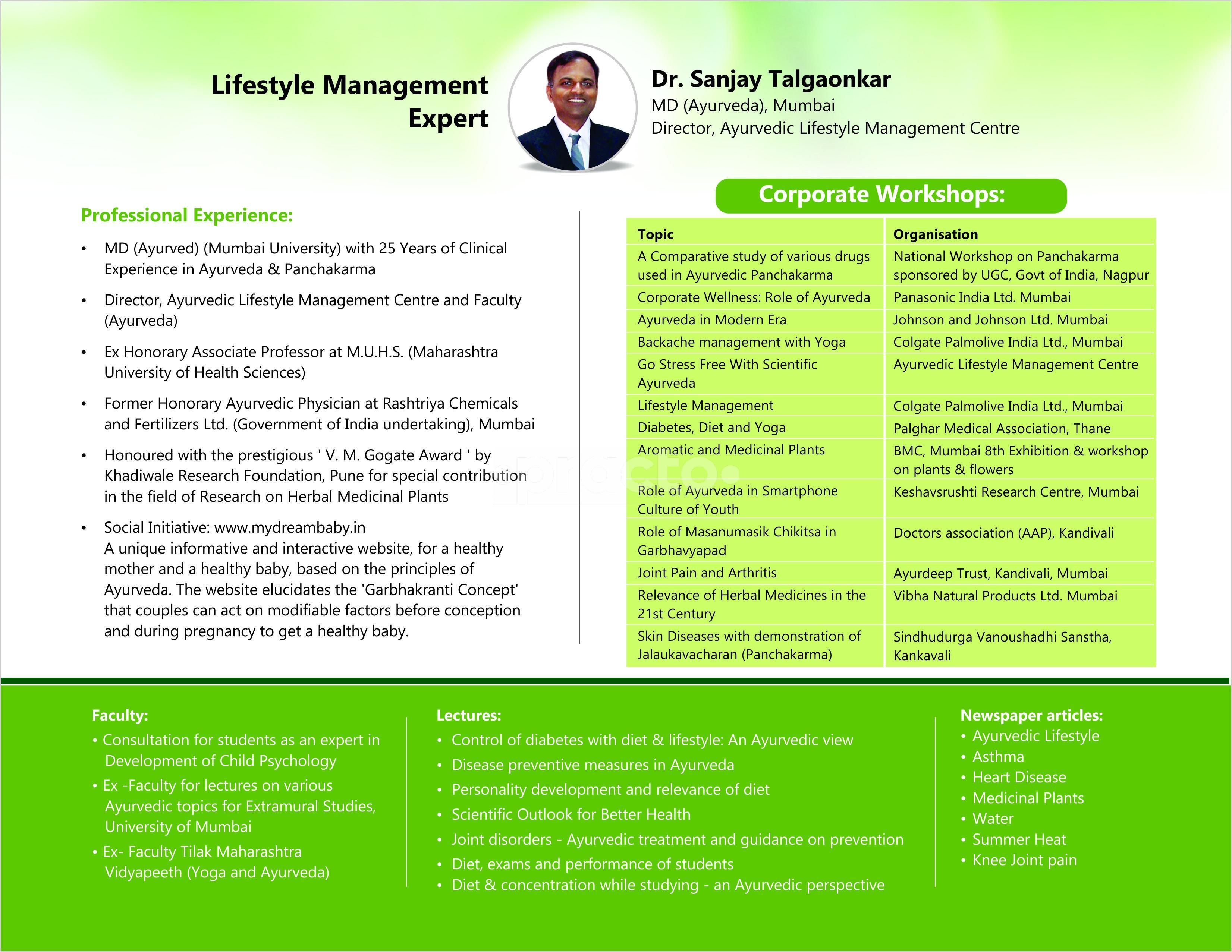 Dr  Sanjay Talgaonkar - Ayurveda - Book Appointment Online